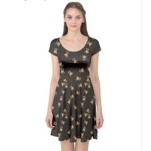 [cowcow] Short Sleeve Honeybee Honeycomb Dress